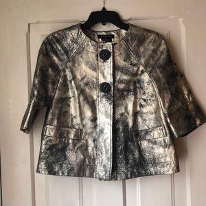 Genuine leather jacket metallic